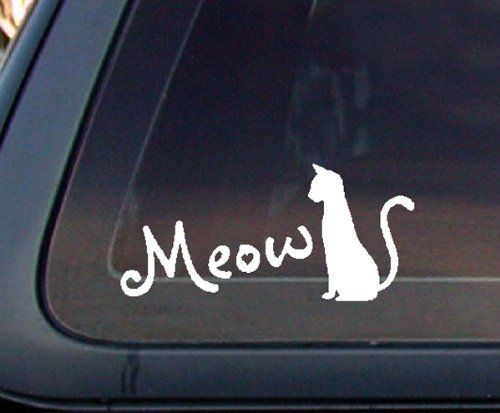 Amazon com cat silhouette meow for cat lovers car decal sticker white automotive