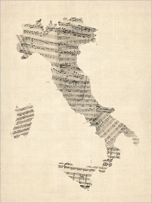 Old Sheet Music Map of Italy Map Art Print 907 by artPause on Etsy