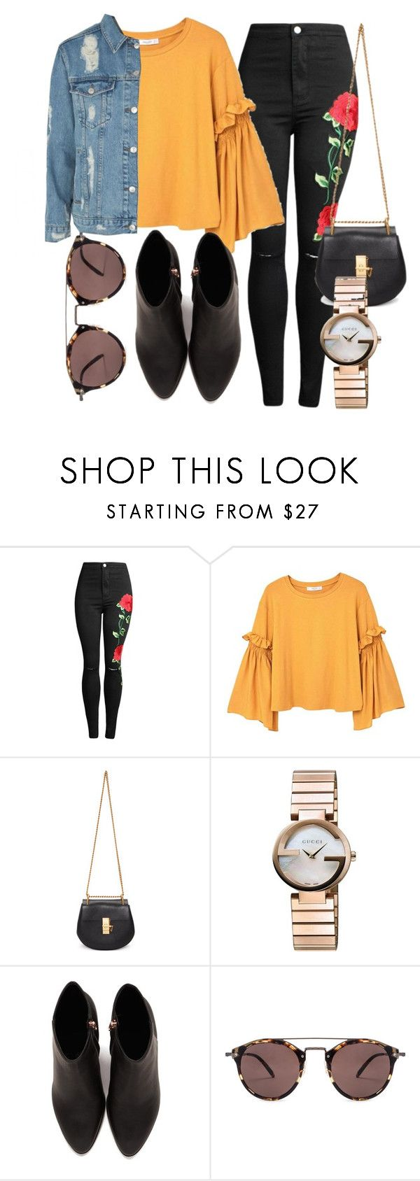 """""""OOTD"""" by lisa98w ❤ liked on Polyvore featuring MANGO, Chloé, Gucci, Alexander Wang, Oliver Peoples and Topshop"""