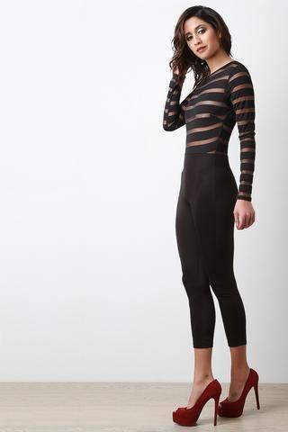 Semi-Sheer Stripe Design Jumpsuit - JP Murga's - 2