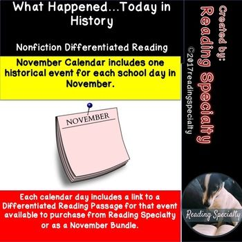 This November calendar lists one historic event corresponding to each school day of the month. Develop background information with your students by discussing these high interest Day in History events. Hyperlinked to each calendar day is a link to three differentiated learning passages over