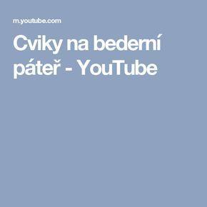 Cviky na bederní páteř - YouTube