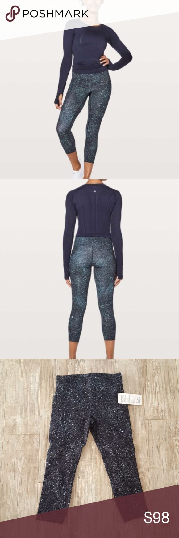 """💘SALE💘 Lululemon """"Lead the Pack"""" Crop Pants Purchased BNWT from a posher and was gifted, but person did not like the print. Id rather sell for my money back. Crop style with side pockets. Wide thick waistband to cover tummy. Cute black, dark blue, white speckled print. Color of pants is best represented in last photo. A must have for you lululemon fans! ;) lululemon athletica Pants Leggings"""