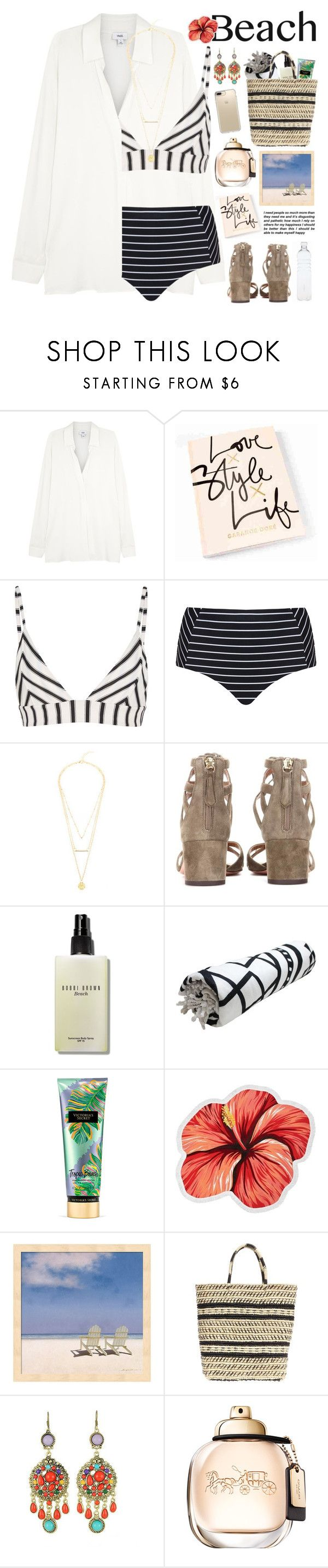 """2579. Sun's Out: Beach Day"" by chocolatepumma ❤ liked on Polyvore featuring Vince, Tori Praver Swimwear, Cactus, Aquazzura, Bobbi Brown Cosmetics, Victoria's Secret, LaMont, Sensi Studio, WithChic and Speck"