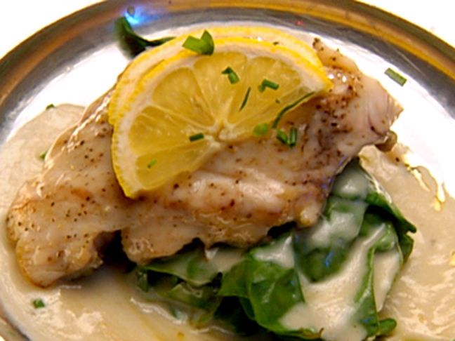Pan-Seared Rockfish with Lemon Beurre Blanc from FoodNetwork.com