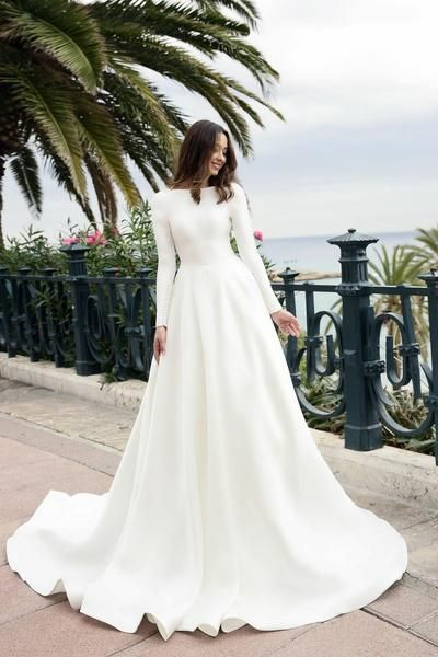 Boat Neck Long Sleeved Ivory Satin Wedding Gown Simple | me ...
