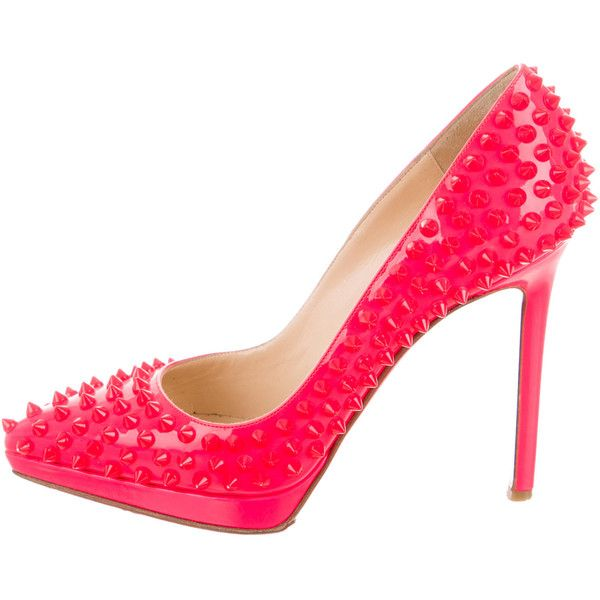 Pre-owned Christian Louboutin Patent Leather Spike Pumps ($630) ❤ liked on Polyvore featuring shoes, pumps, orange, christian louboutin pumps, neon pumps, neon shoes, patent pumps and orange shoes
