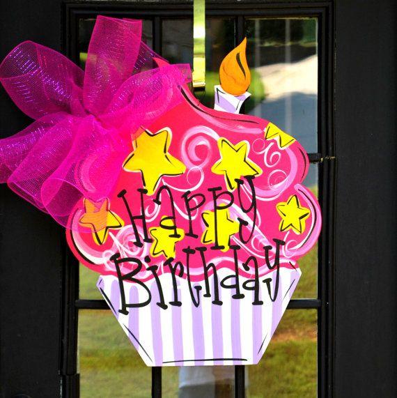Girl Birthday Door Sign, Birthday Cupcake Door Decor, Birthday Door Decor, Happy Birthday Door Hanger via Etsy