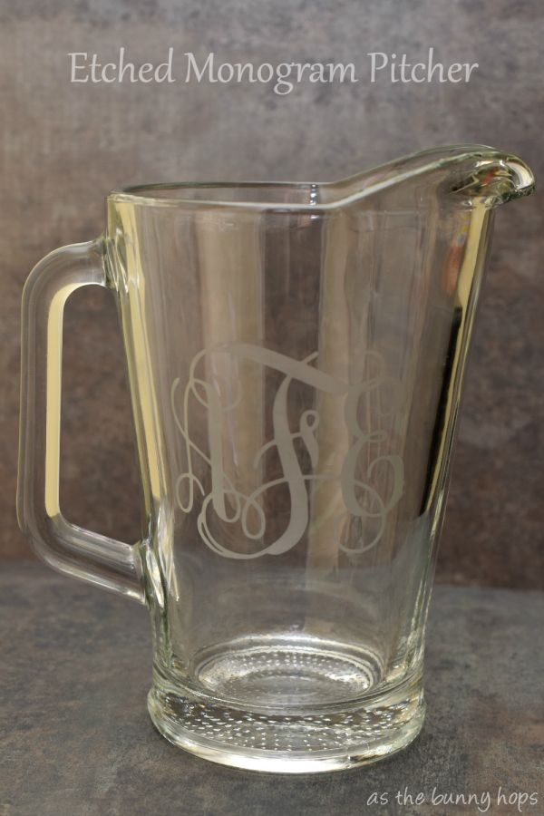 Etched Monogram Pitcher made with the Silhouette