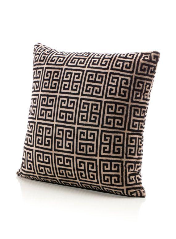 Greek Key Minky Throw Pillow in 18x18. Designer Fabric. USA Made by Elonka Nichole
