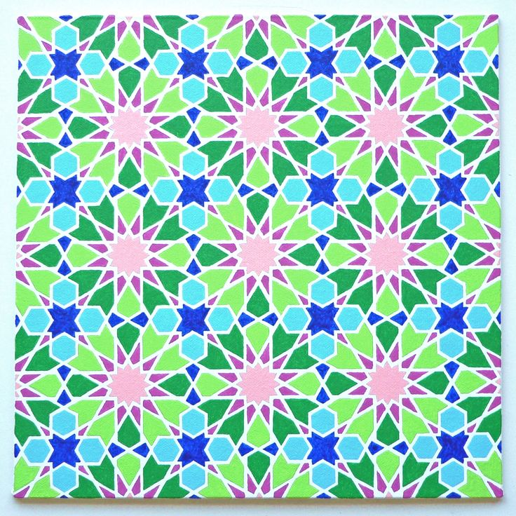 'Ali bin Yusuf' - Painting by Ton Ensink 30 x 30 cm , Acrylic paint on canvasboard. The pattern is from a book of Eric Broug.