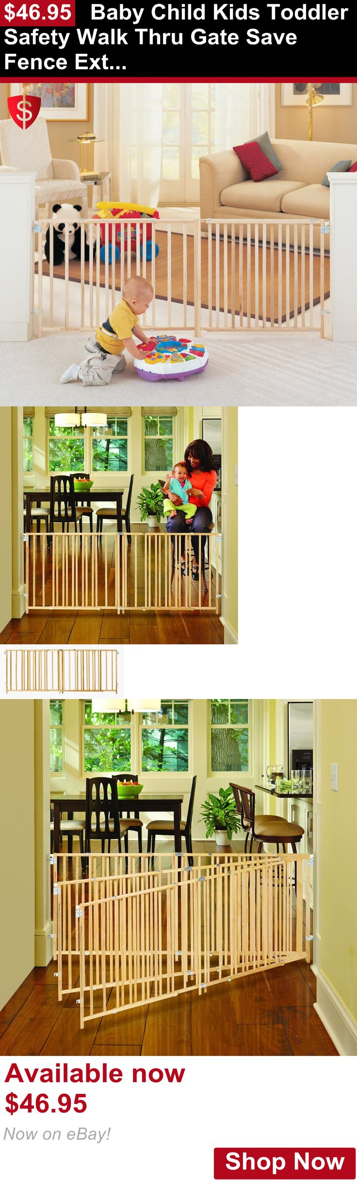 Baby Safety Gates: Baby Child Kids Toddler Safety Walk Thru Gate Save Fence Extra Wide Pet Gates BUY IT NOW ONLY: $46.95