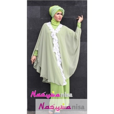 Flowing Green ( inner jersey silk + kaftan double sifon ) - Nasywa Fashion Collection