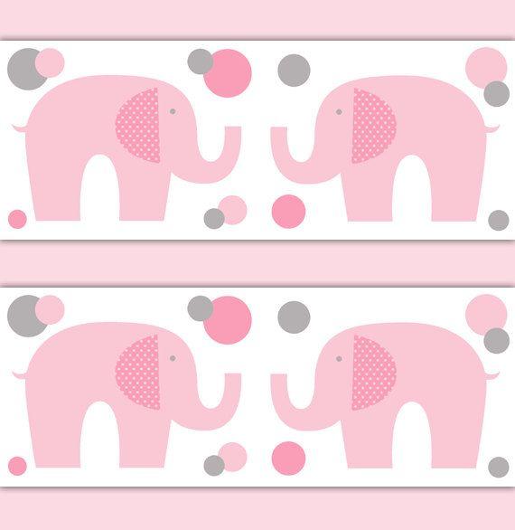 ELEPHANT WALLPAPER BORDER Nursery Decal Pink Grey Gray Girl Safari Animal Wall Art Baby Decor Children's Jungle Bedroom Stickers Kids Room #decampstudios