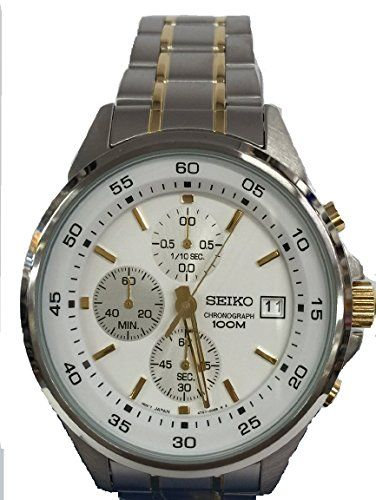 Seiko Mens Chronograph Two Tone Stainless Steel Watch Sks479 *** Click image to review more details. (This is an affiliate link and I receive a commission for the sales)