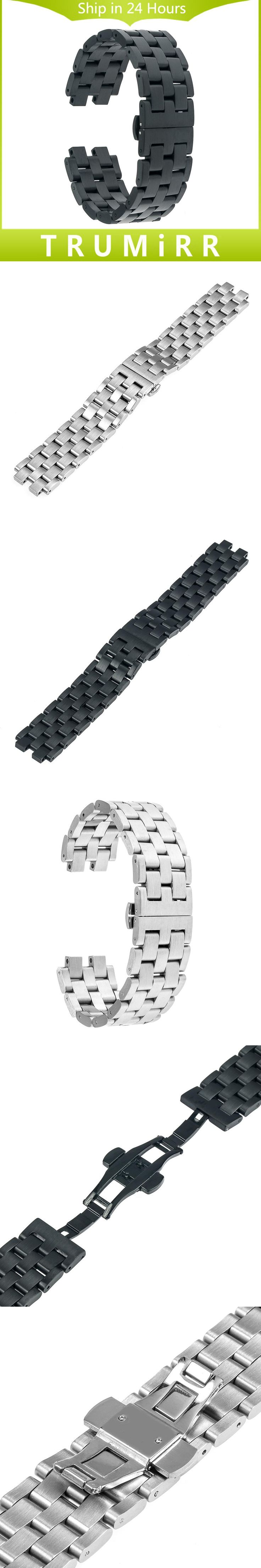 22mm Stainless Steel Watchband for Pebble Steel 2 Watch Band Butterfly Buckle Bracelet Strap w/ all Links Removable Black Silver