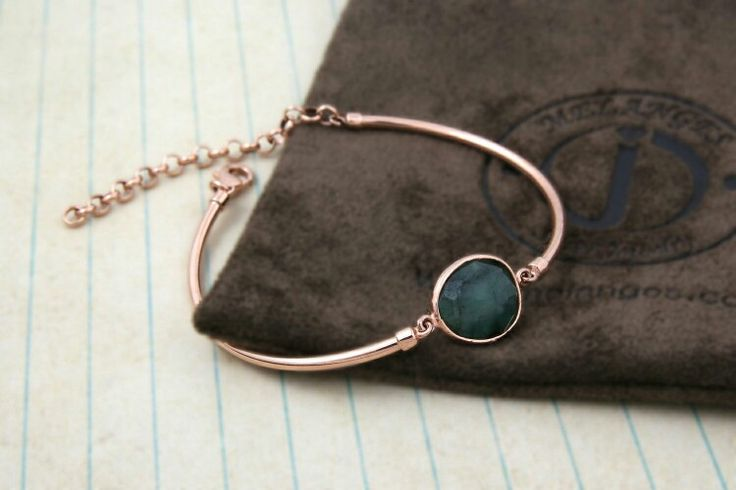 Emerald silver bangle bracelet