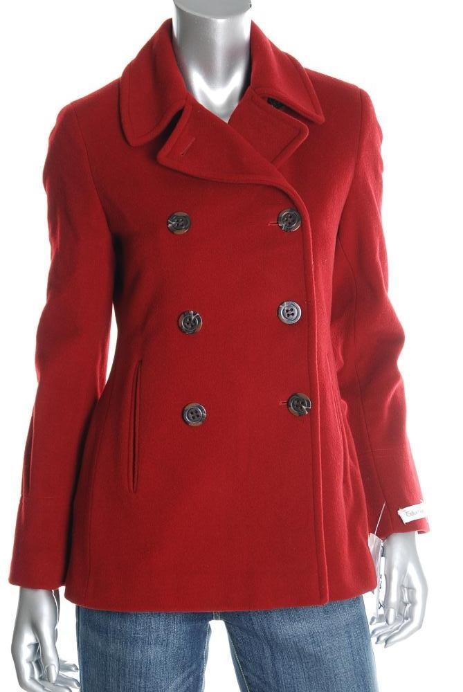 Calvin Klein Red Pea Coat