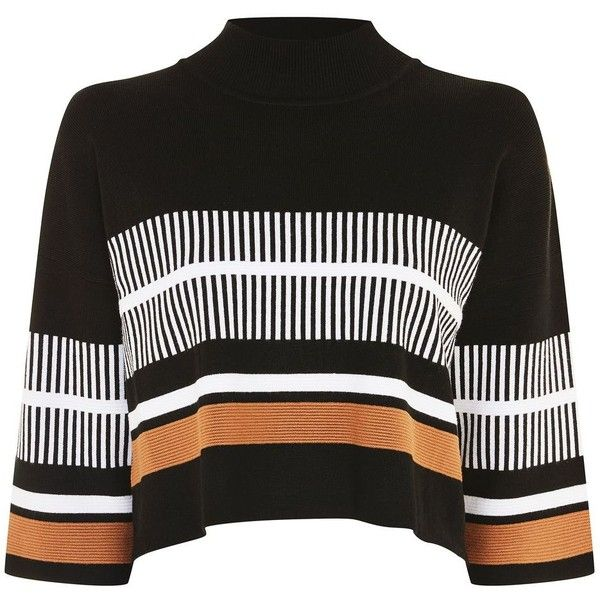 High Neck Striped Jumper by Native Youth ($53) ❤ liked on Polyvore featuring tops, sweaters, black, striped high neck top, striped sweater, striped top, viscose top and stripe sweater