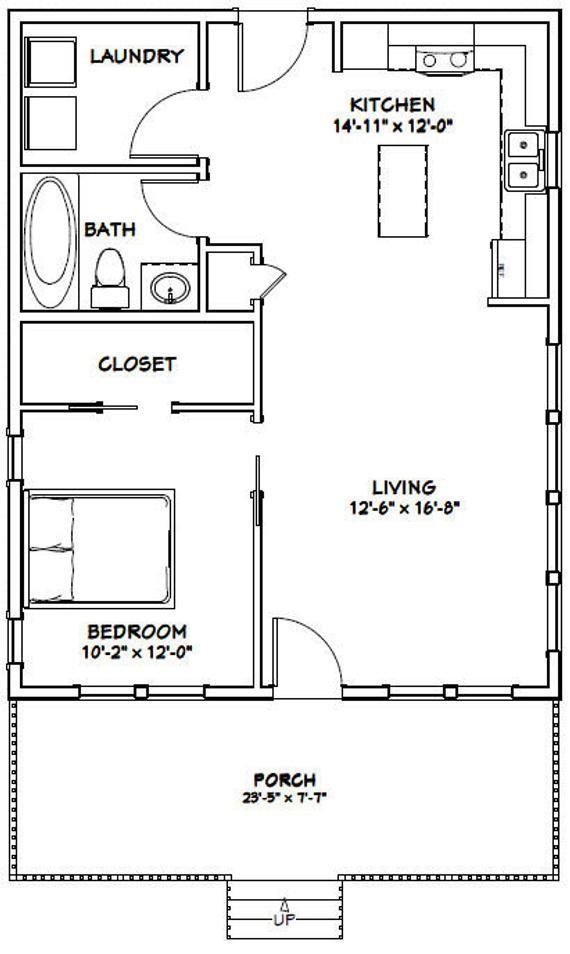 24x30 House 1 Bedroom 1 Bath 720 Sq Ft Pdf Floor Plan Etsy One Bedroom House One Bedroom House Plans 1 Bedroom House Plans Small house design plan pdf