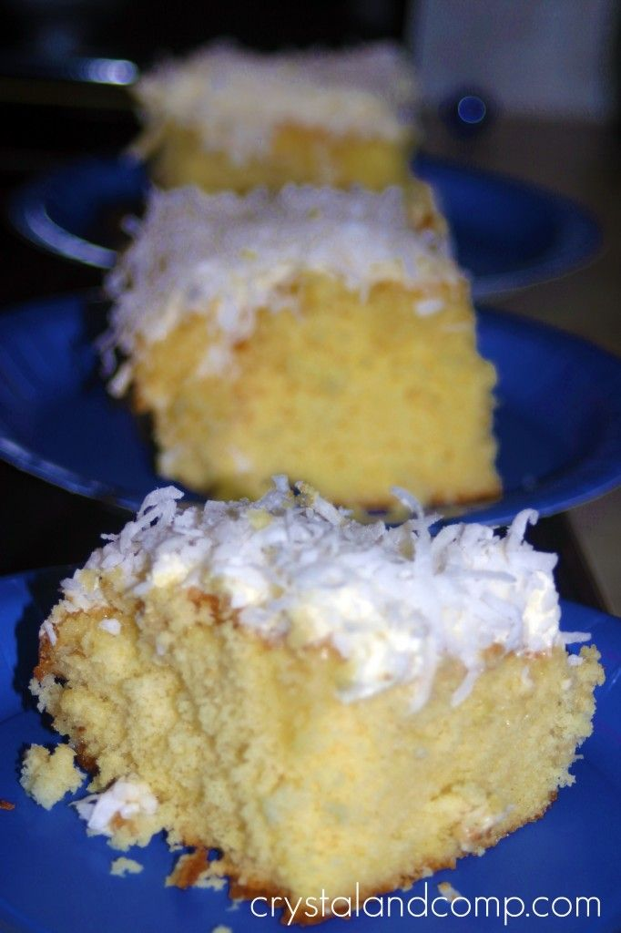 Pina colada what!!?? I said Pina colada cake, honey...I would add coconut to the cake mix and pour a can of sweetened condensed milk over the cake as well before it cools. I also add pineapple to my cake. So tasty!!