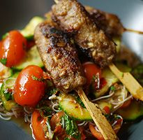 Lemongrass and ginger meatballs, rice vermicelli salad with sambal belacan recipe by 2014 MasterChef winner Ping Coombes - hellomagazine.com