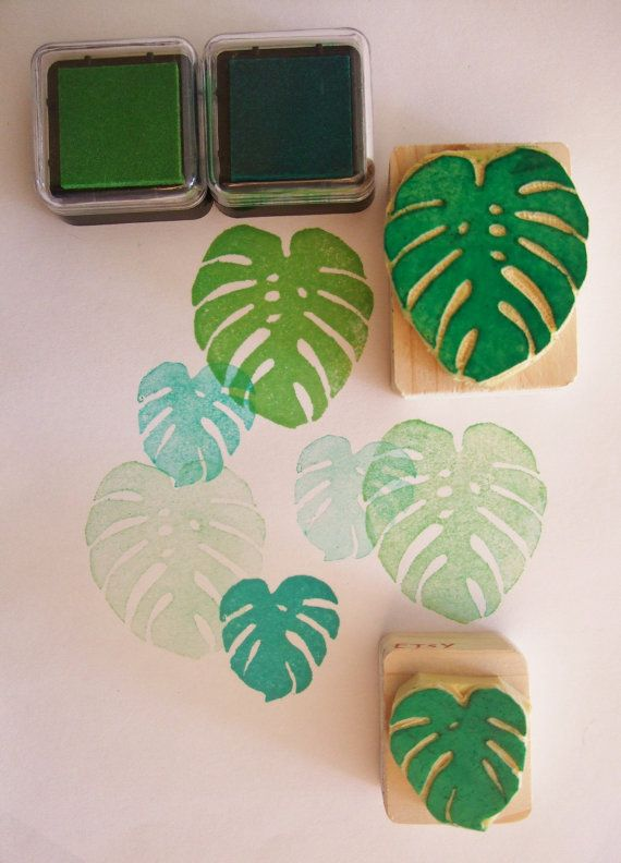 Monstera Deliciosa leaves - Hand carved rubber stamp set