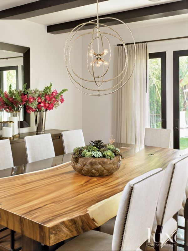 Restoration Hardware Chairs Sit At A Walnut And Bronze Table By Argent Custom Furniture