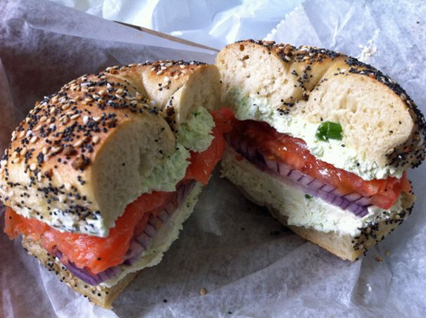 Salmon, Scallion Cream Cheese, Tomato and Onion on an Everything Bagel at Absolute Bagels in NYC by The Amateur Gourmet, via Flickr