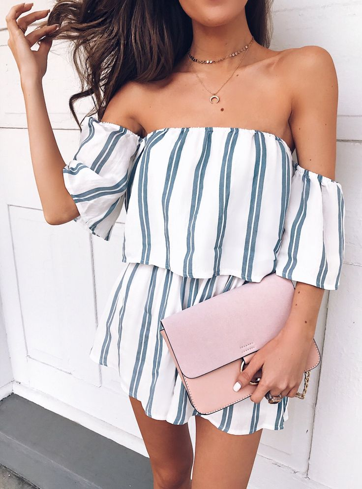 #spring #outfits White Striped Off The Shoulder Romper & Pink Clutch