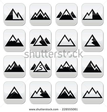 Mountain vector buttons set  by RedKoala #winter #cold #ski #snowboard