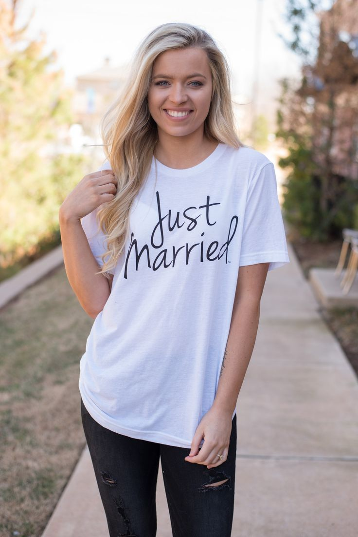 Just married unisex short sleeve t-shirt white from Lush Fashion Lounge