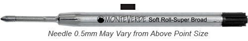 Monteverde Refills Soft Roll Needle Point Black for Parker .5mm Ballpoint Pen...