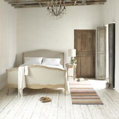 Lou-Lou bed French style hand carved bed with upholstered headboard in natural linen