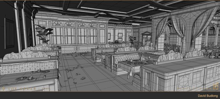 The Order: 1886 Mayfair Atrium Restaurant Wireframe, David Budlong on ArtStation at https://artstation.com/artwork/the-order-1886-mayfair-atrium-restaurant-wireframe
