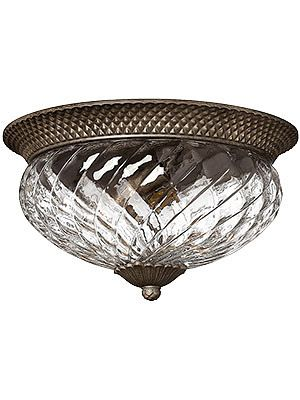 Plantation Large Flush Mounted Ceiling Light With Clear Optic Glass