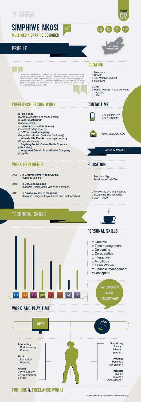 designer cv infographic by simphiwe nkosi via behance