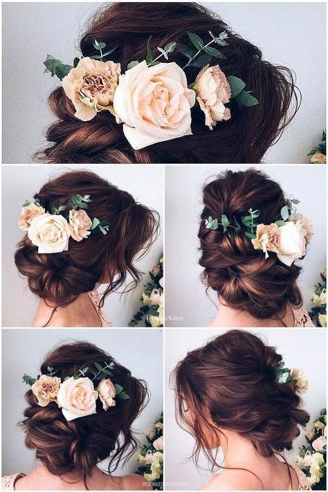 60+ Most Beautiful Spring Ideas --- Updo Wedding Hairstyles with Blush Roses, DIY Beading ...
