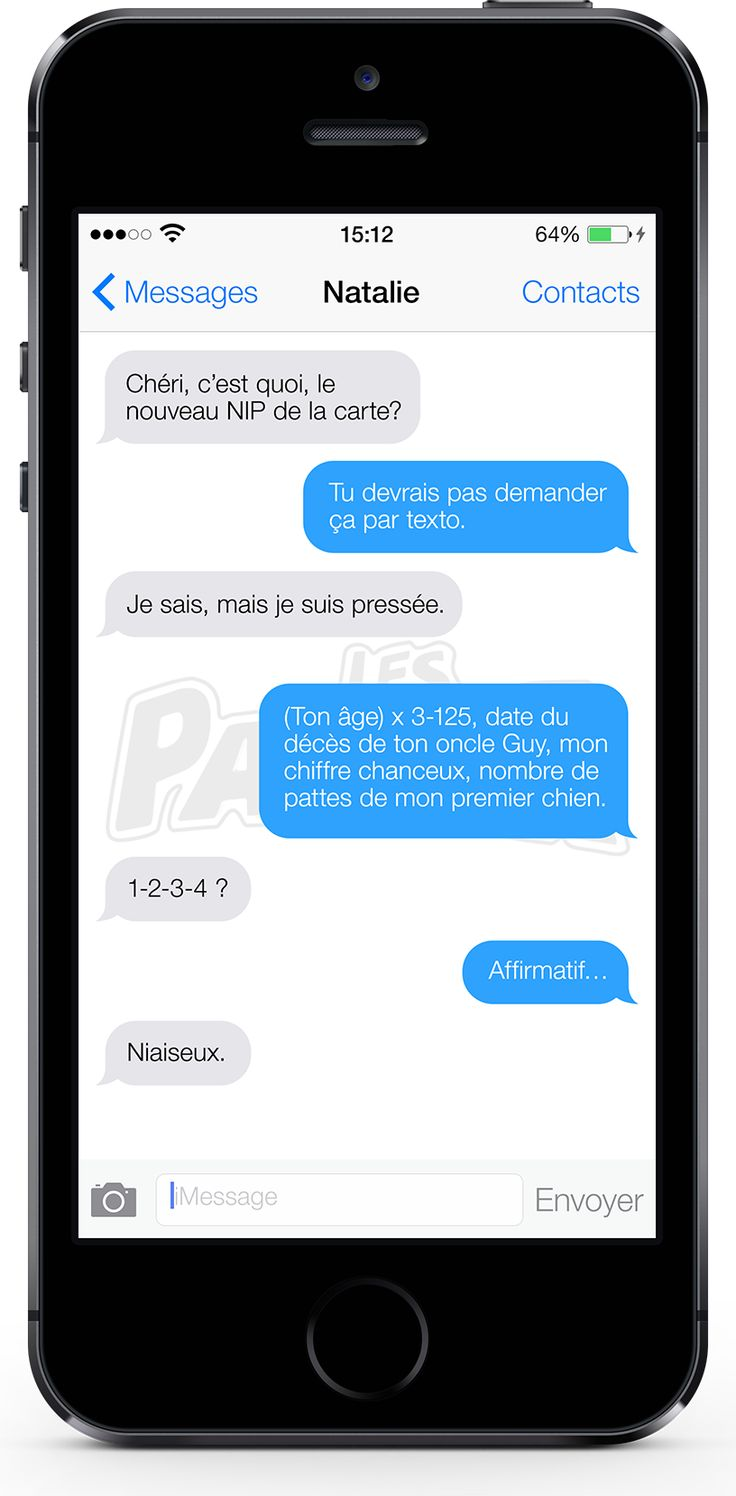 Example of the Québécois French word NIAISEUX used in a text message (#877)   OffQc   Quebec French Guide