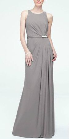 Long Sleevless Crepe Dress with Embellished Belt Style F15638 in Mercury. #davidsbridal #bridesmaiddress #graywedding