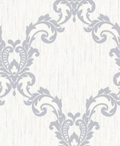 Selene Dove Grey (M0855) - Vymura Wallpapers - A pretty decorative damask diamond style trellis pattern on a textured blown vinyl background.  Shown in the dove grey. Please request sample for true colour and texture.