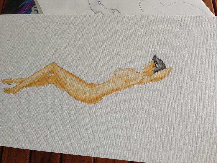 Work in progress. An Angel on canvas (acrylic)
