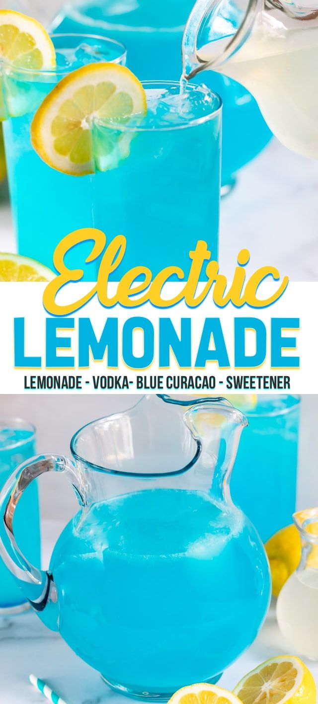 Electric Lemonade is an easy party punch recipe! This lemonade pitcher cocktail …
