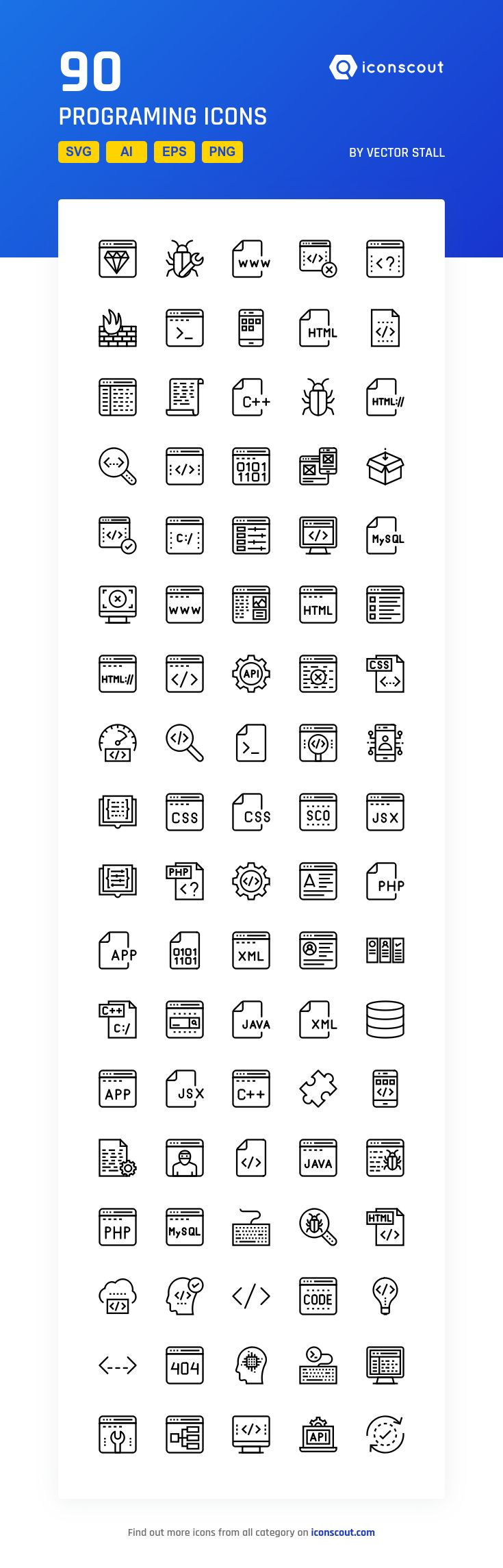 Programing  Icon Pack - 90 Line Icons
