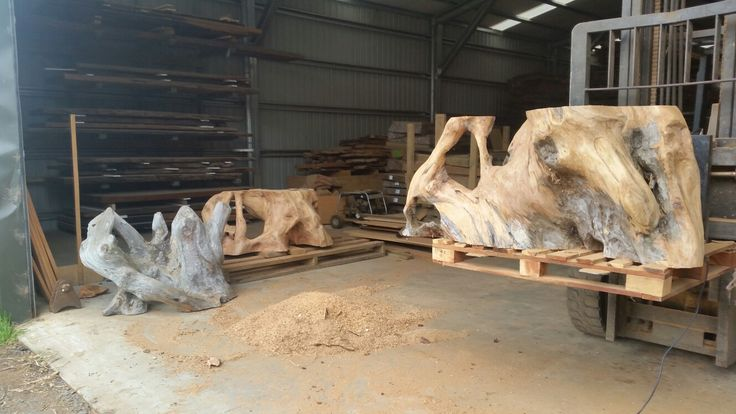 Chainsaw sculptured Ancient Kauri table bases by Todd Cobbin