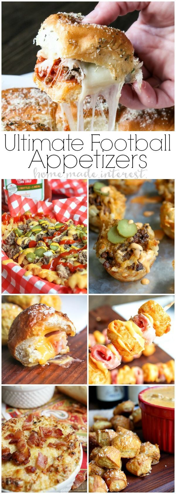 Easy Football Party Appetizers   Get ready for game day with these awesome easy football party appetizers. Whether you need some super bowl party recipes or you are just hosting a football party during the regular season you are going to need amazing appetizer recipes like easy slider recipes, tater tot appetizers, cheesy dip recipes. Host a great game day party with these easy game day appetizers!