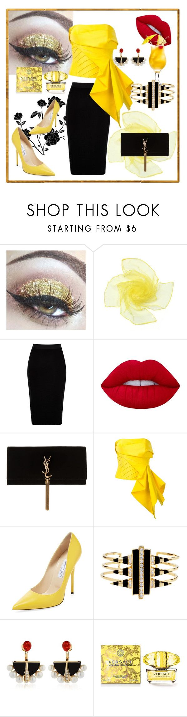 """Untitled #9"" by mirka2011 on Polyvore featuring moda, River Island, Lime Crime, Yves Saint Laurent, Rubin Singer, Jimmy Choo, Noir Jewelry, Lalique i Versace"