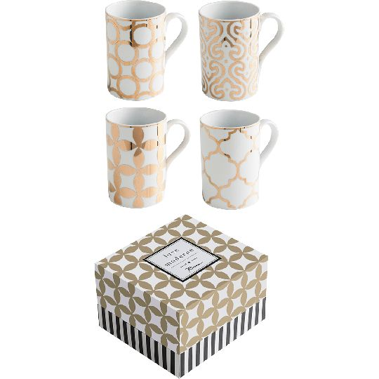 Porcelain Luxe Moderne Unique Coffee Mugs - Set of 4