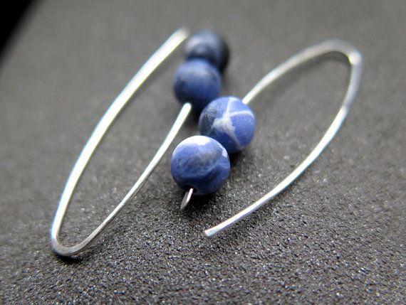 pendientes de Sodalita. joyería piedra azul mate con por Splurge