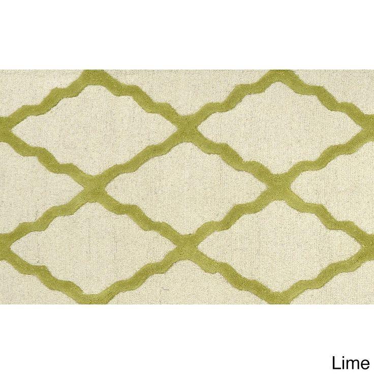 nuLOOM Hand-hooked Alexa Moroccan Trellis Wool Door Mat Rug (2' x 3') (Lime (Green)) (Oriental)